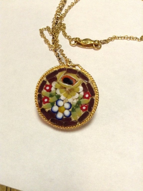 Necklace Pendant Round Micro Mosiac  Floral Italy Collectors Statement Piece