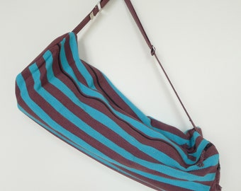 SALE 40% OFF - 2 Zip Hand Woven Yoga Mat Bag - Turquoise w/ Brown Stripes