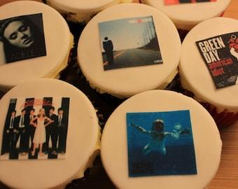CD Album Cover Cupcake Toppers, Edible, Set of 12