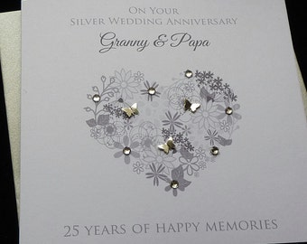 Silver /25th Wedding Anniversary personalised card