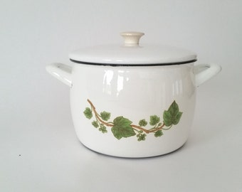 Vintage casseroole / enamel pot retro Ivy leaves Kockums Sweden 60s
