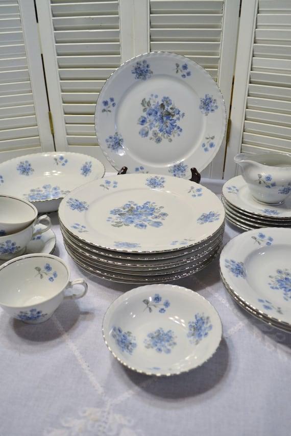 Vintage Fine Bohemian China Dinnerware Set 25 Pcs Blue White