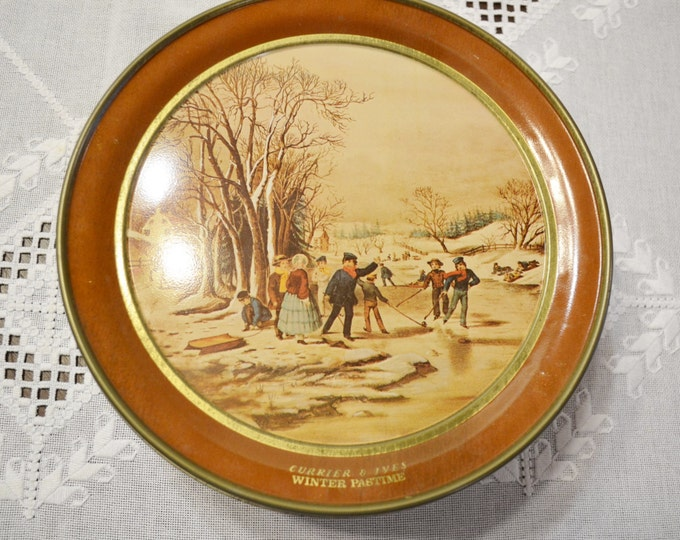 Vintage Currier and Ives Cookie Tin Winter Pastime Vintage Storage Sewing Box PanchosPorch