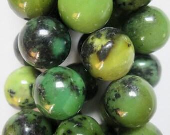 "Genuine Chrysoprase Beads - Round 10 mm Gemstone Beads - Full Strand 16"", 42 beads, A-Quality"