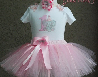 Elephant Baby Girl 1st Birthday Outfit, 1st Birthday Pink and Gray Elephant Tutu Outfit, First Birthday Pink and Gray Elephant Tutu Set