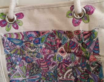 Hand decorated canvas tote bag
