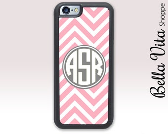 Personalized iPhone 6 Case Monogrammed Pretty Pink Chevron Zig Zag Monogram iPhone 6S Case 1182