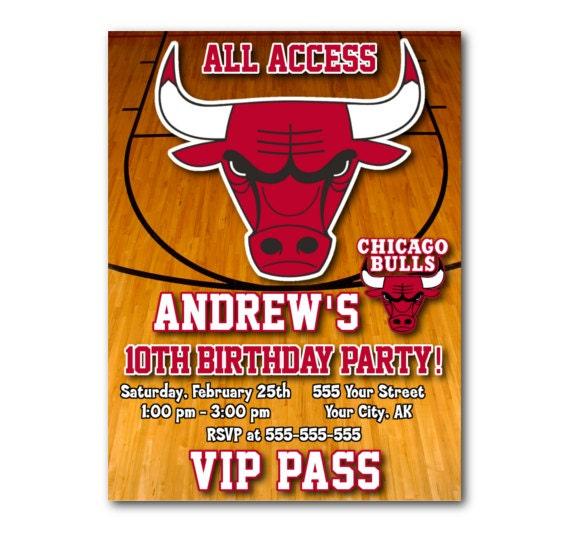 Birthday Celebration Chicago Style: Chicago Bulls Vip Pass Party Invitation By