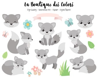 Gray Fox Clipart, Cute Digital Graphics PNG, Wolf, Foxes, Autumn, Forest, Woodland Animals Clip art, Planner Stickers Commercial Use