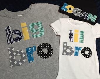 Big bro Lil bro Shirt Set, Big bro shirt, Lil bro shirt, Newborn Hat, All Customized