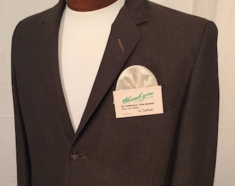 Vintage Men's Brown 3 Button Flatweave 60s Sportcoat Blazer Palm Beach Wash'n'Wear Carson Pirie Scott 38L Small Made in USA Lightweight Mod
