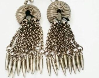 Statement Earrings for Women, Earrings for Women, Long Vintage Earrings, Long Dangle Earrings for Women, Vintage Silver Earrings,