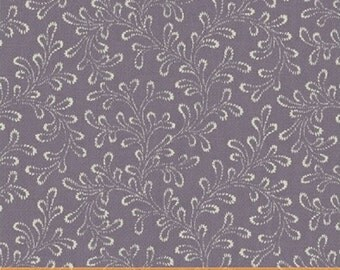 "10"" REMNANT Chambray Rose - Fern in Lavender Purple - Cotton Floral Quilt Fabric - Nancy Gere for Windham Fabrics - 40830-3 (W3439)"