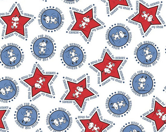 One Yard Peanuts - Hugs for Heroes - Snoopy Stars and Circles in White - Cotton Quilt Fabric - Quilting Treasures - 22772-Z (W3107)