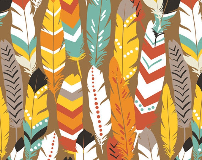 One Yard Luckie - Fringe in Red - Feathers Cotton Quilt Fabric - by Maude Asbury for Blend Fabrics - 101.115.04.1 (W3454)