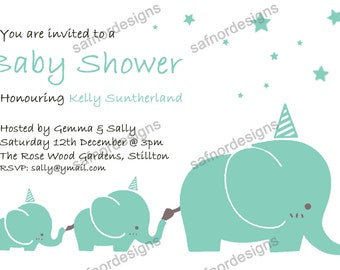 DIY Baby Shower Invite Elephants with hats