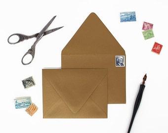 Envelopes - A2 Size - Set of 25 - Vintage Gold Metallic Color - Deep V Euro Flap