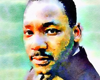 Martin Luther King Jr. in Color Watercolor Print