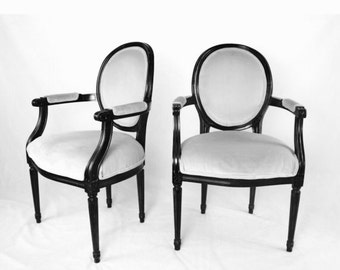 You Decide - PAIR of French Louis Oval Back Arm Chairs