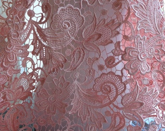 Graceful Pink Fabric, Bridal Lace Fabric Trim, Guipure Lace Fabric, Wedding Dress Costume Supplies
