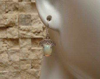 Opal earrings in Sterling Silver with pave cz