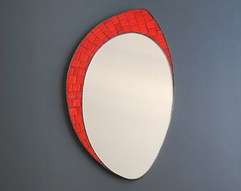 Red Wall Mirror mosaic wall mirror | etsy