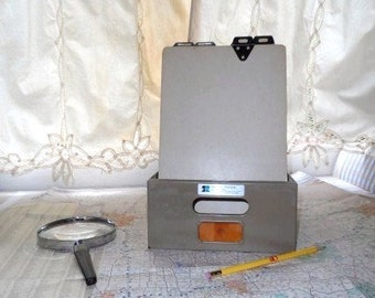 Vintage Desktop Large Metal Index Box with Record Cards- Handles-Cool Retro Office Supplies-Reynolds & Reynolds-Orphaned Treasure-070816D