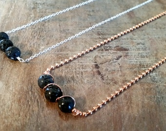 Lava Rock Oil Diffuser Necklace on Copper or Sterling Chain, Essential Oil Carrier Unisex Jewelry for Teen Boy, Teen Girl, Women, and Men