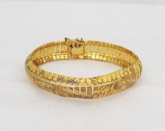 Vintage Italian Sterling Silver Gold Tone Diamond cut Snake Link Bracelet 7 1/2''