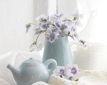 Art Print, Violets Still Life, Violets,  Floral, Teapot, Shabby Chic, Photography, Digital Art, Original, Home Decor, Wall Decor