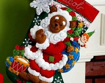 "Bucilla Santa Bear ~ 18"" Felt Christmas Stocking Kit #86208 Drum, Toys, Stars DIY"