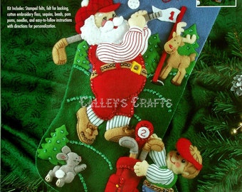 "Bucilla Golfing Santa ~ 18"" Felt Christmas Stocking Kit #83383 DIY"