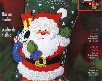 "Bucilla Special Delivery ~ 18"" Felt Christmas Stocking Kit #84593 Santa Cat Dog DIY"