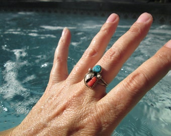 Turquoise, Coral and Sterling Feather Ring Size 6.75
