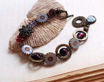 Czech glass lampwork bead playful boho bracelet dusky blue daisy