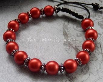 Handmade Black Macrame/Shamballa Res Glass Pearl & Silver Bead Bracelet UK Seller