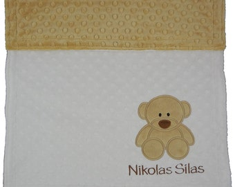 Personalized Baby Blanket, Teddy Bear Baby Minky Blanket, Custom Blanket