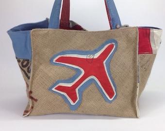 Large tote bag, burlap bag, handmade, beach tote, eco friendly bag, recycled bag, womens beach bag