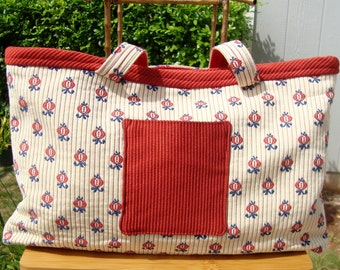 FREE SHP  Large Wide Tote Bag, Pomegranates in the sun, OOAK, repurposed fabric,  Handmade, Red, Off-White, and Blue coloring