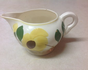 Vintage Blue Ridge Pottery creamer yellow flower Daisy hand painted southern potteries