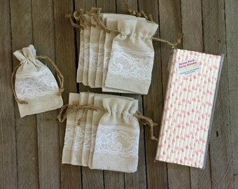 Lace and Linen Drawstring Bags- 3 x 5- 12 Pack and Pink Heart Paper Straws 25 Pack-Bridal Shower Supply, Jewelry Pouch, Favor Bag,