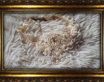 """Lace necklace """"White Fairy"""""""
