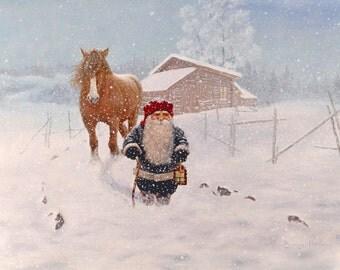 Swedish artist, Jan Bergerlind Tomte Gnome Christmas Cards Box of 12 #JB560