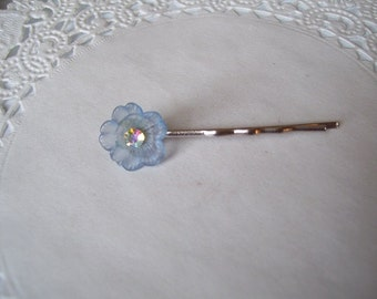 Flower Hair Pin (256) - Blue Flower Hair Pin - Recycled Jewelry - Flower Bobby Pin