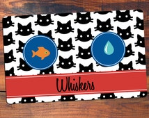 Personalized Cat Placemat - Cat Mat - Pet Food Mat - Fabric Placemat - Rubber Placemat