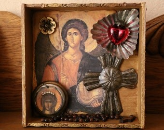 Archangel Shrine Assemblage Shadowbox