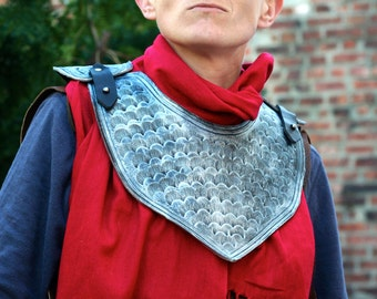 Silvered Black Leather Gorget, Upper Chest Armor, Red Neck Scarf