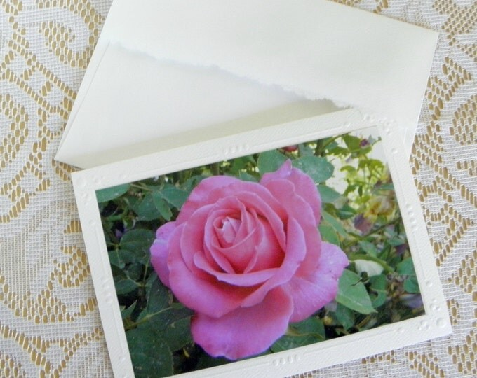 PINK ROSE Card, Handmade by Pam of Pam's Fab Photos and ships FREE in 1-3 business days