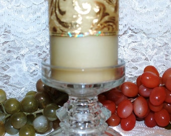 """L E Smith Rare Labeled Clear Crystal 4"""" Octagon Paneled Pillar Candlestick"""