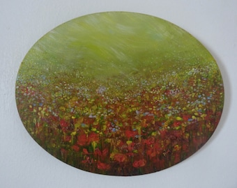 Flower Meadow Small Oval Oil Painting